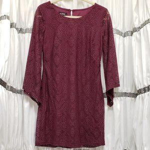 A. Byer Wine Layered Lace Dress Bell Sleeves Knee
